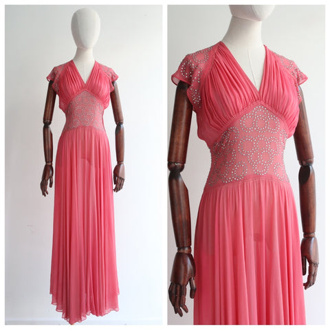 """Paradise Pink"" Vintage 1930's Paradise Pink Silk & Rhinestone Dress UK 8 US 4"