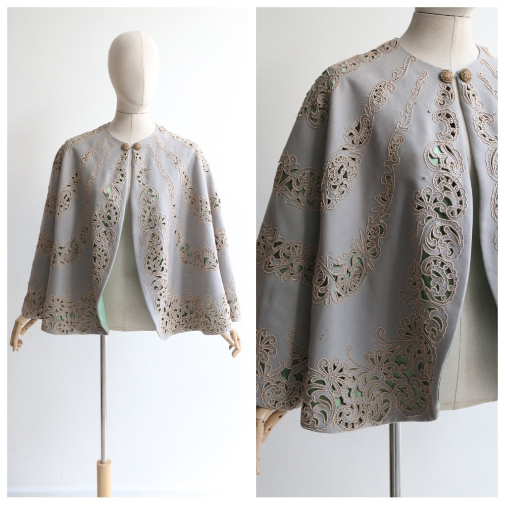 """Soutache Embroidery"" Vintage 1950's Grey & Cream Soutache Beaded Cape"