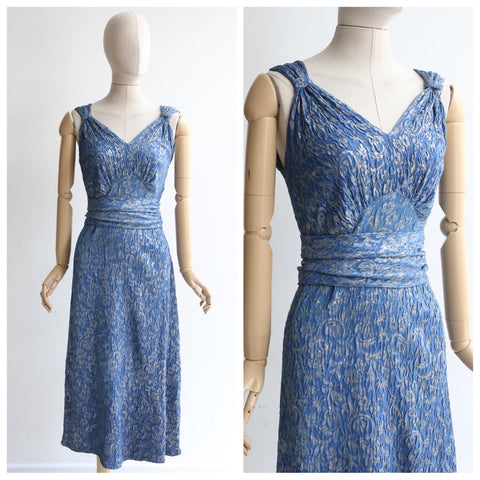 """Matelassé & Lamé"" Vintage 1930's Blue & Silver Silk Matelassé & Lamé Dress UK 10-12 US 6-8"