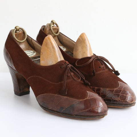 """Ferragamo"" Rare Vintage 1930's Suede & Crocodile Skin Salvatore Ferragamo Wingtip Lace up Heels UK 5- 5.5 US 7 -7.5 EU 38-38.5"