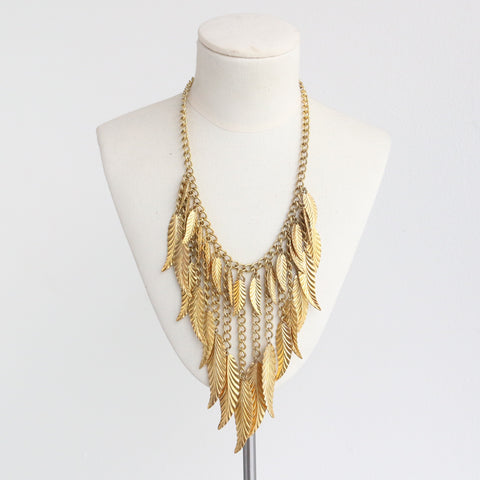 """Hattie Carnegie"" Vintage 1960's Gold Toned Statement Hattie Carnegie Leaf Necklace"
