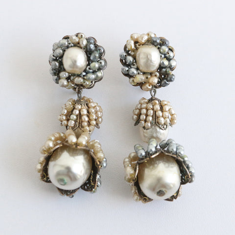 """Miriam Haskell"" Vintage 1940's Miriam Haskell Pearl Drop Earrings"