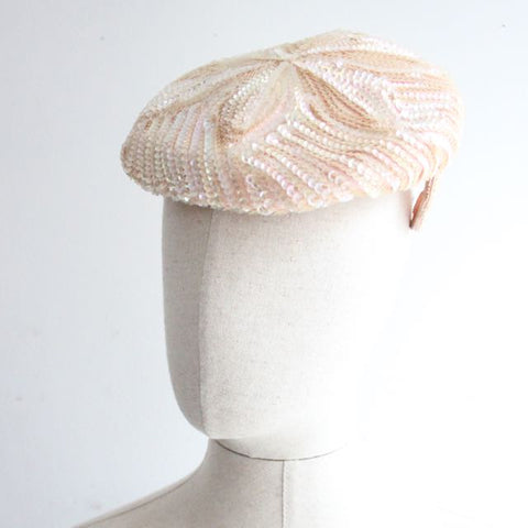 """Treasure"" Vintage 1950's Pink Iridescent Sequin Tilt Hat"