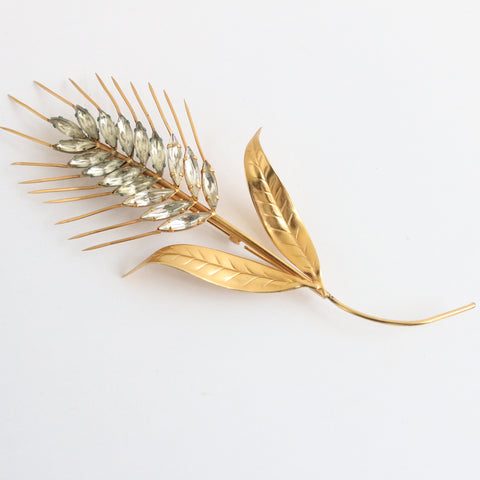 """Sheaf of Wheat"" Vintage 1950's Italian Statement Rhinestone Sheaf of Wheat Brooch"
