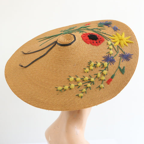 """Wild Flower Garden"" Vintage 1940's French Wool Embroidered Straw Sun Hat"