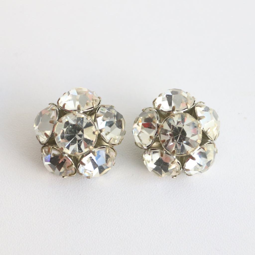 """Rhinestone Blossoms"" Vintage 1950's Large Silver Cut Rhinestone Clip on Earrings"