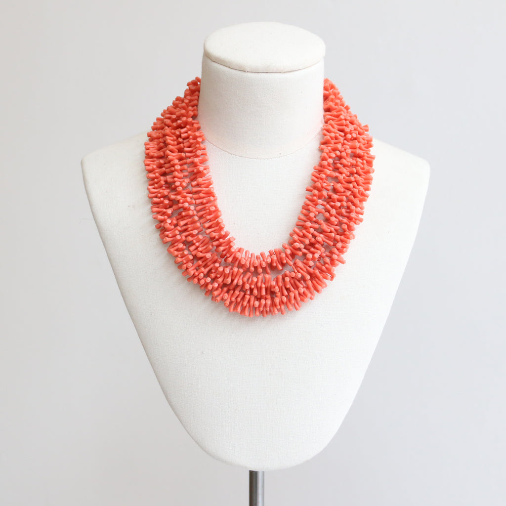 """Sea Coral"" Vintage 1960's Mutli-strand Simulation Coral Beaded Necklace"