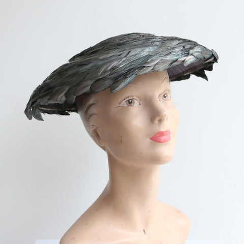 """Silver & Grey Feathers"" Vintage 1950's Silver & Grey Feather Saucer Hat"