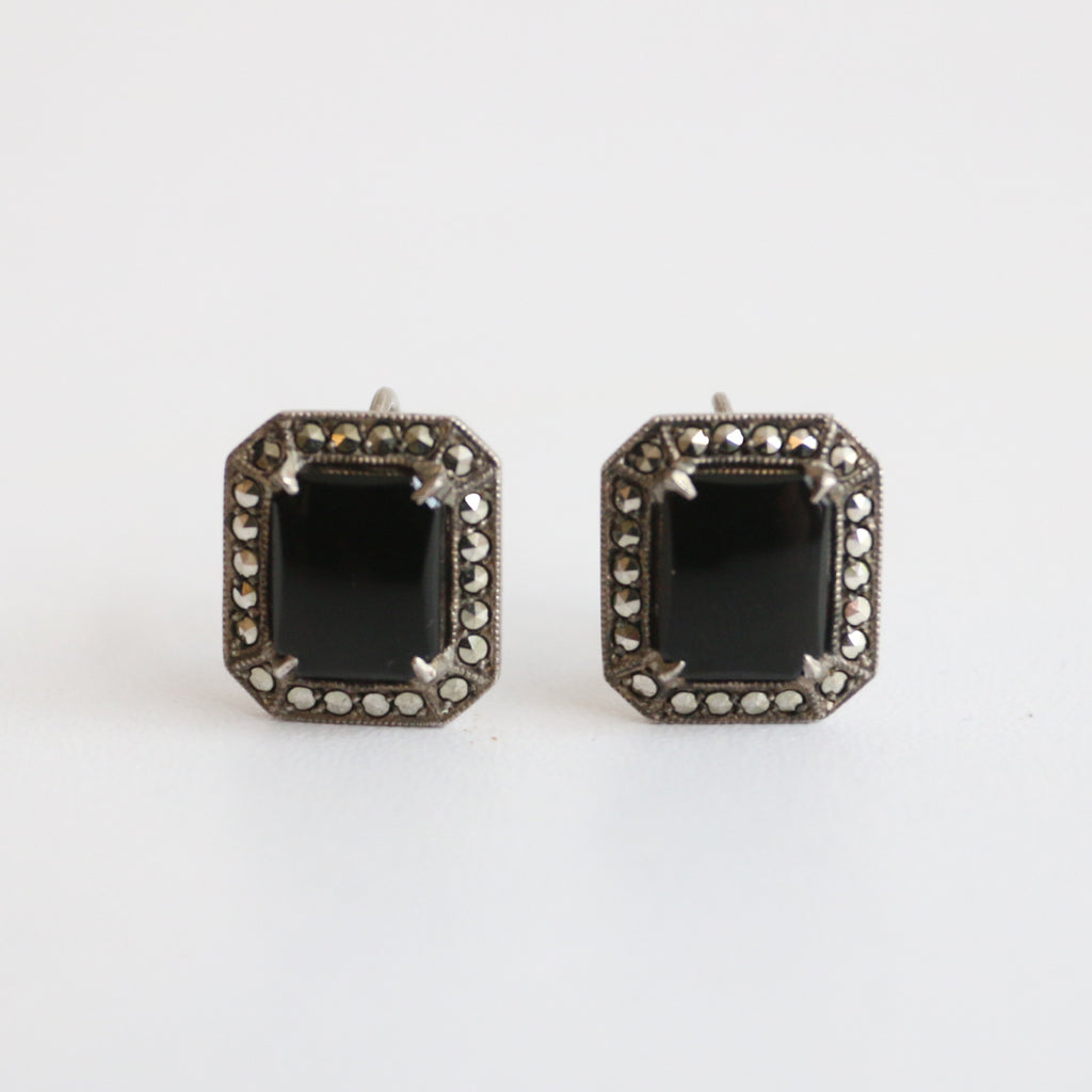 """Onyx"" Vintage 1930's Silver & Marcasite Screw Back Earrings"