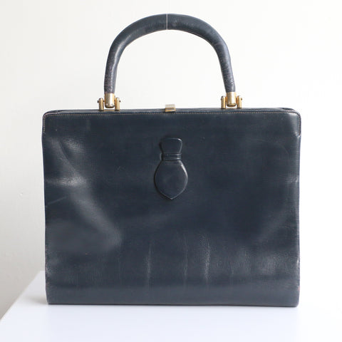 """Navy Leather"" Vintage 1940's Navy Blue Leather Top Handle Bag"