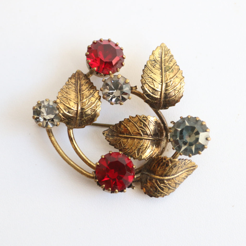 """Winter Berries"" Vintage 1950's Rhinestone Berry Brooch"