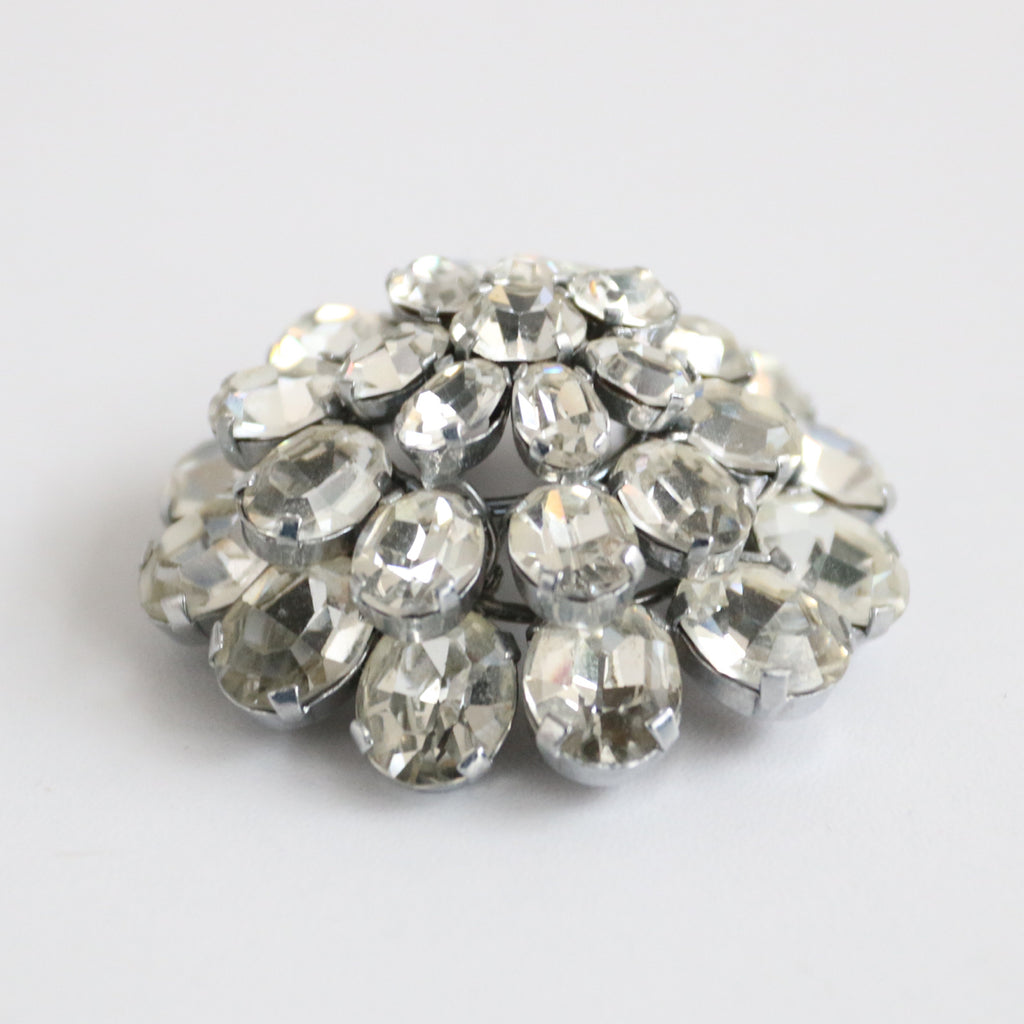 """Domed Rhinestones"" Vintage 1950's Silver Paste Domed Floral Rhinestone Brooch"