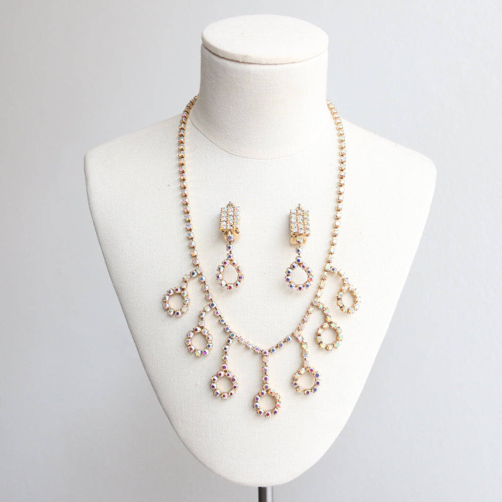 """Iridescent Rhinestone Set"" Vintage 1950's Iridescent Rhinestone Jewellery Set, Necklace and Clip-on Earrings"