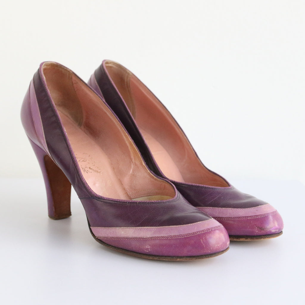 """Shades of Lavender"" Vintage 1940's Lavender Leather Heels UK 5 EU 38 US 7"
