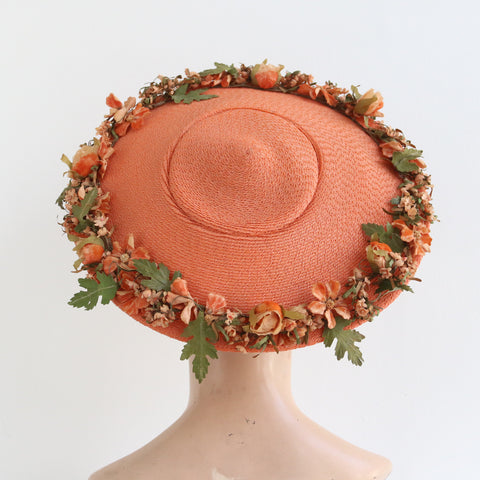 """Ode To Summer"" Vintage 1950's Apricot Straw Saucer Hat With Decorative Millinery Flowers"