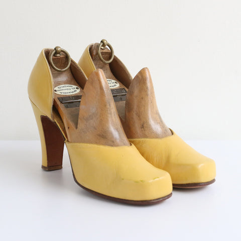 """Daffodil Yellow"" Vintage 1940's Yellow Leather Shoes UK 5 EU 38 US 7 (Narrow)"