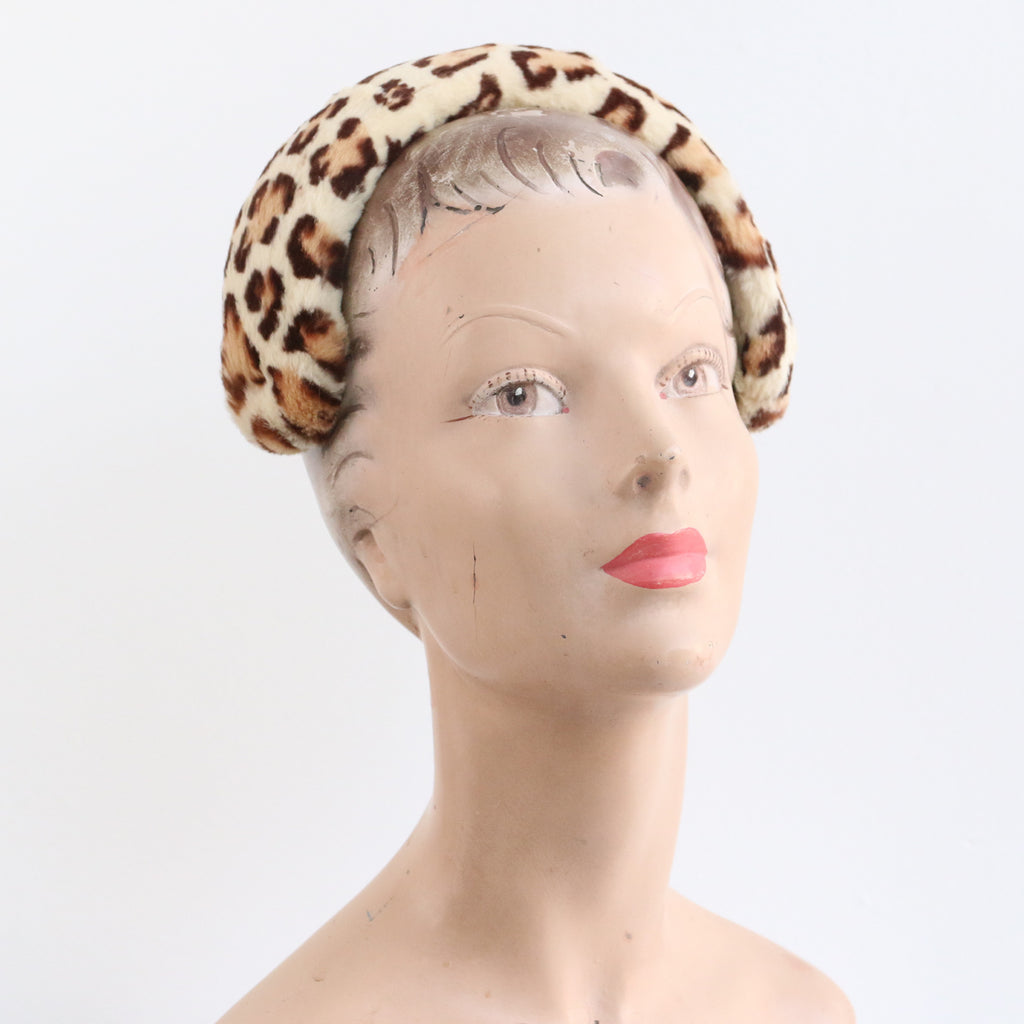 """Leopard Print Coney Hair Band"" Vintage 1950's Leopard Print Fur Headband"