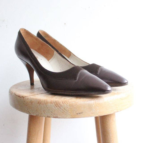 """Mellelieu"" Vintage 1950's Brown Silk & Leather Shoes UK 5"