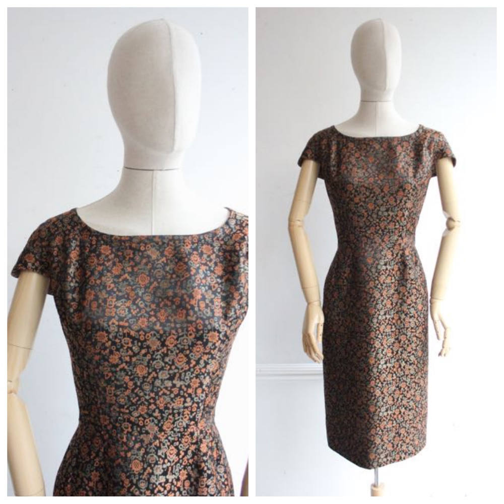 """Mariette"" Vintage 1950's Silk Brocade Lamé Dress UK 14"