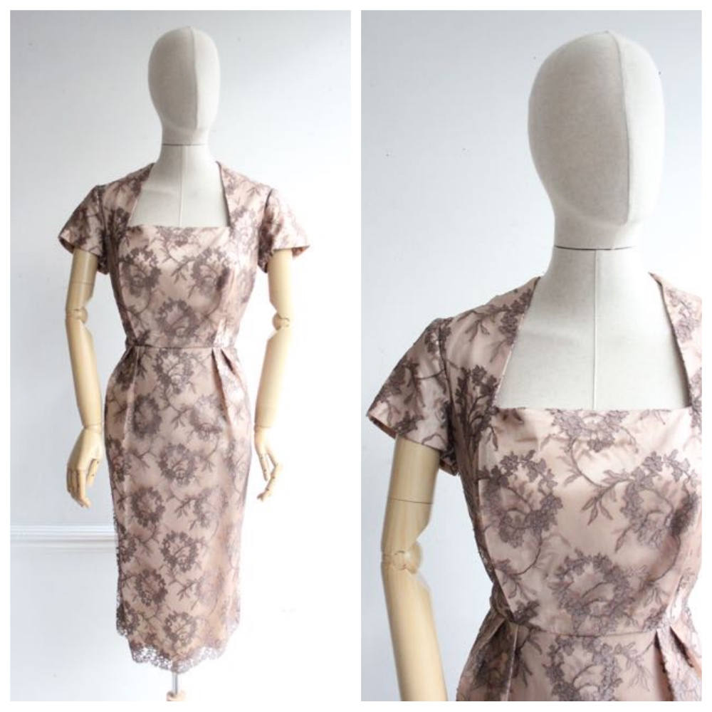 Vintage 1950's Lace Wiggle Dress fifties midcentury goodwood revival vinage bridesmaid wedding original 50's pinup