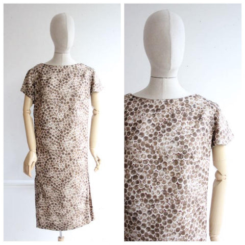 Vintage 1960's Shift Dress Silk Polkadot Dress shift dress sixties 60's mod brown true vintage dropped waist dress classic gogo UK 14