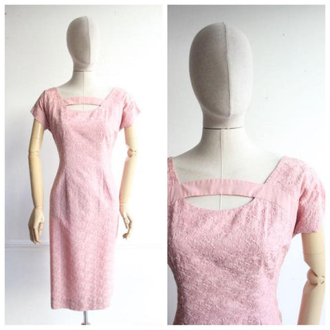 Vintage 1950's Blush Pink Embroidered Wiggle Dress floral goodwood revival fifties 50's original vtg midcentury vintage bridesmaid pinup