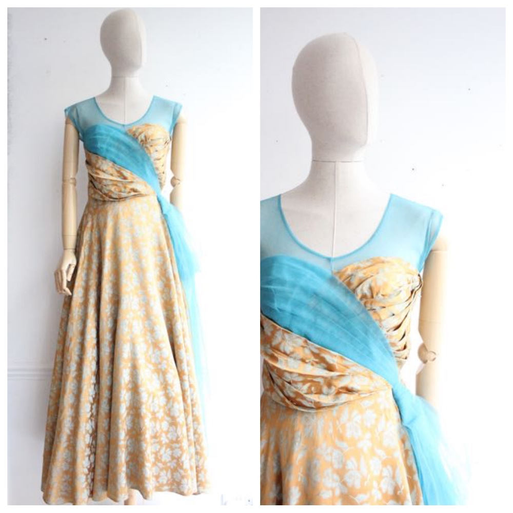 """Mila"" Vintage 1950's Silk Brocade and Tulle Evening Gown UK 10"