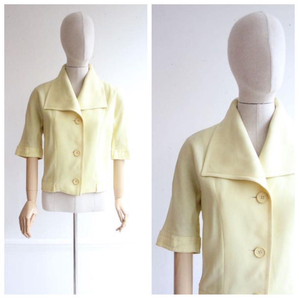 """Monique"" Vintage 1950's Pale Yellow Linen Jacket UK 12"