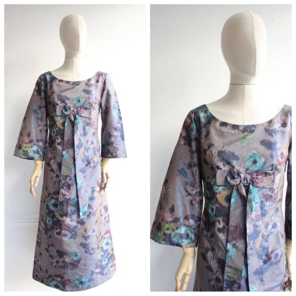 """Lee Ann"" Vintage 1960's Silk Floral Watercolour Evening Dress UK 12"