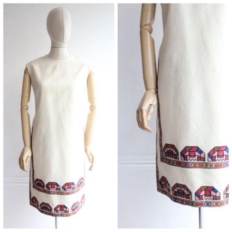 """Neighbourhood"" Original 1960's Wool Embroidered Dress UK 14"