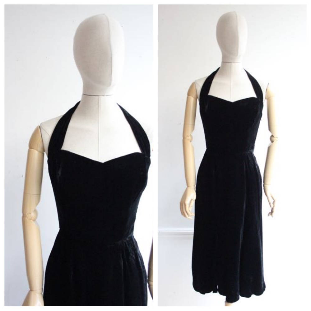 """Irena"" Vintage 1950's Black Velvet Halter Neck Dress UK 6-8"