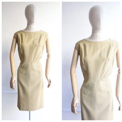 Vintage 1950's Wiggle Dress Gold wiggle dress  Gold Raw Silk Wiggle Dress 1950's dress fifties 1950's revival silk shift dress UK 14-16