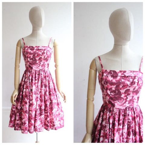 """Laney"" Vintage 1950's Pink Floral Dress UK 8-10"