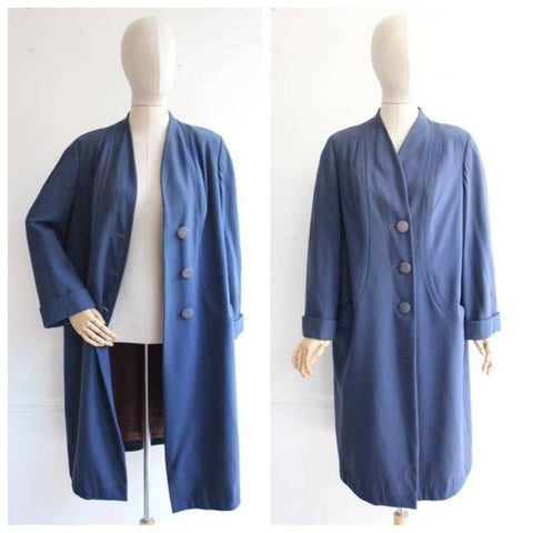 """Isabella"" Vintage 1940's Blue Lightweight Wool Coat UK 12-14-16"