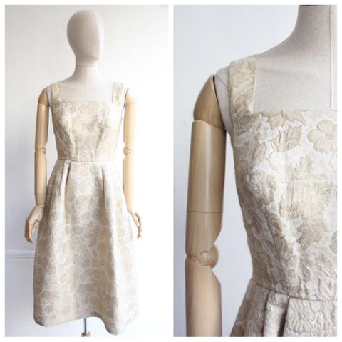 """Lido"" Vintage 1960's Gold Brocade Lurex Dress UK 10"