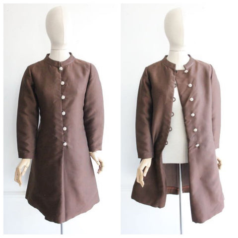 Vintage 1960's Coat Dress 1960's brown silk coat rhinestone buttons 1960's revival original 1960 coat silk mad men coat sixties UK 10-12