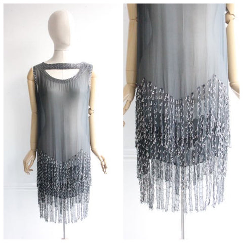 Vintage 1920's Dress Beaded flapper Roaring twenties Evening Dress tiered beaded twenties art deco fringed dress vintage silk chiffon UK 12