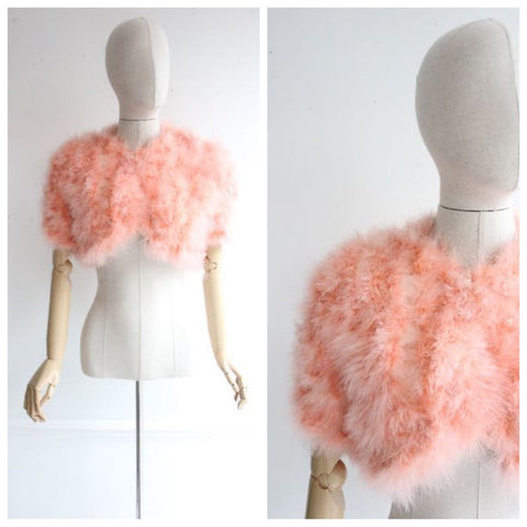Vintage 1930's Marabou Feather Jacket art deco feather cropped jacket peach feather boa vintage jacket thirties 30's flapper ostrich UK 8-10