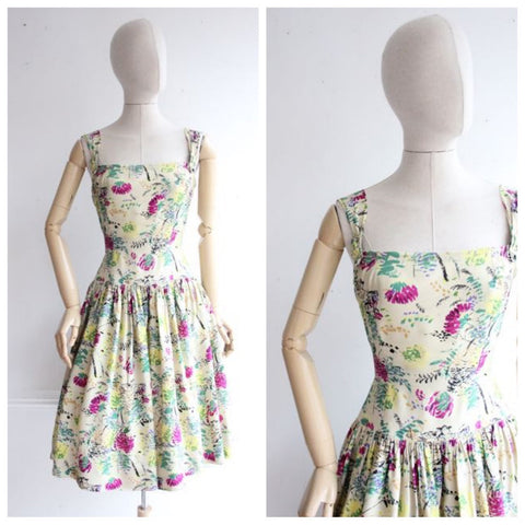 Vintage 1950's Dress 1950's silk Floral Dress 50's fifties goodwood revival pinup summer dress genuine vintage novelty floral  UK