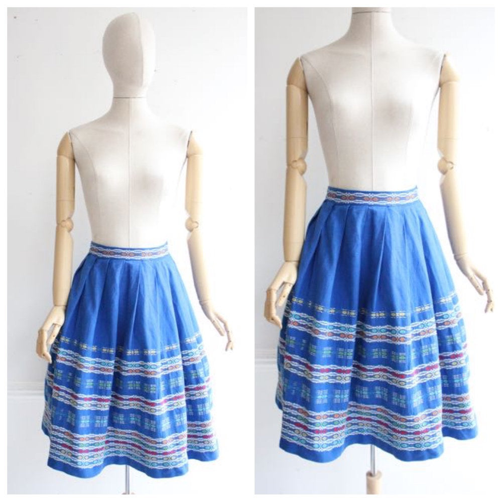 Vintage 1950's Skirt 1950's woven skirt 1950's swing skirt original 1950s revival goodwood blue woven skirt fifties pinup novelty UK 4