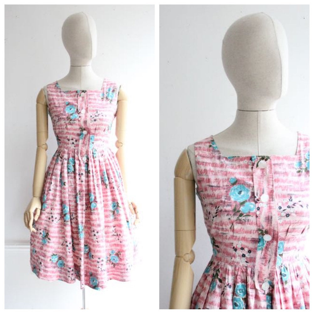 Vintage 1950's Dress vintage 1950's cotton dress original 1950's revival pink floral dress midcentury novelty print pinstripe Dress UK 10-12