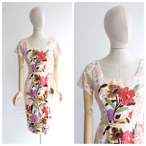 Vintage 1950's dress 1950's floral dress 1950's batik dress 1950 wiggle dress 1950's revival goodwood 1950 flower dress late 50's dress UK 8