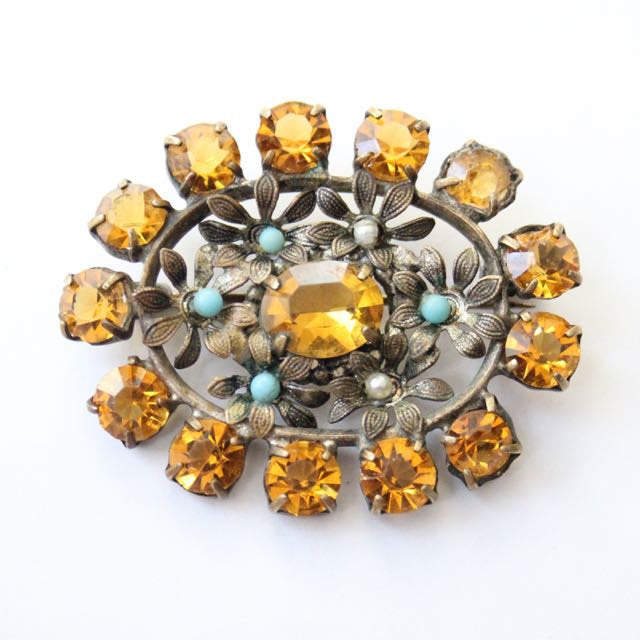 Vintage 1930's brooch 1930's flower brooch vintage amber coloured floral brooch original 1930's revival jewellery 30's vintage accessories