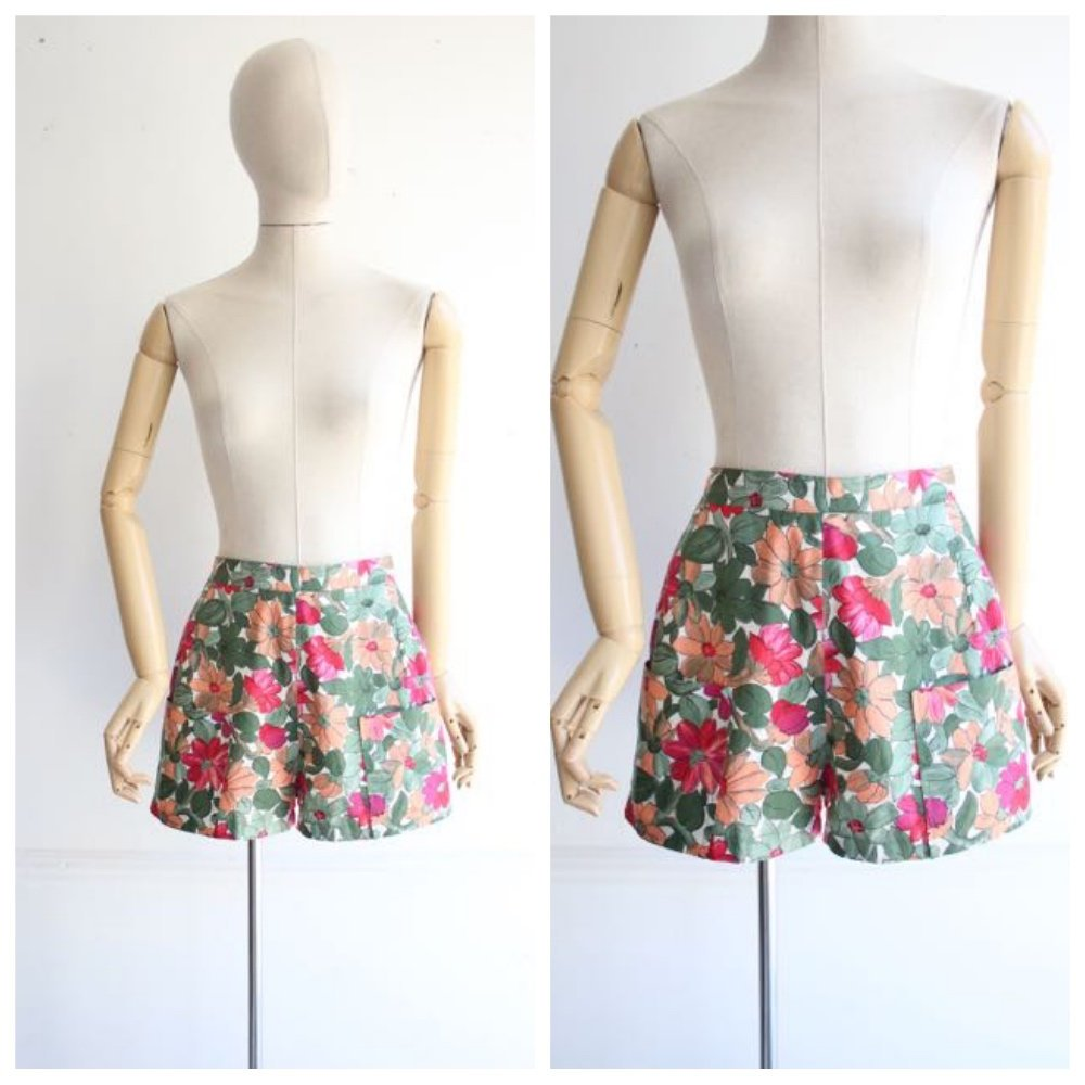 Vintage 1950's shorts 1950 shorts 1950's high waisted shorts original fifties cotton short 50's floral shorts daisy dukes 50's revival UK 8