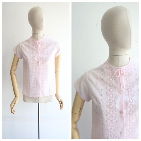 Vintage 1950's blouse 1950's baby pink shirt 1950's pink blouse 1950's revival 1950 blouse fifties top original 50's midcentury blouse UK 10