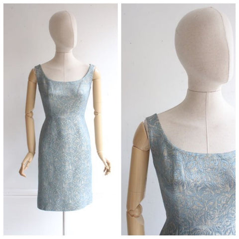 Vintage 1960's dress 1960's wiggle dress 1960's silk brocade dress sixties lurex wiggle dress 60's revival blue and gold cocktail dress UK 8