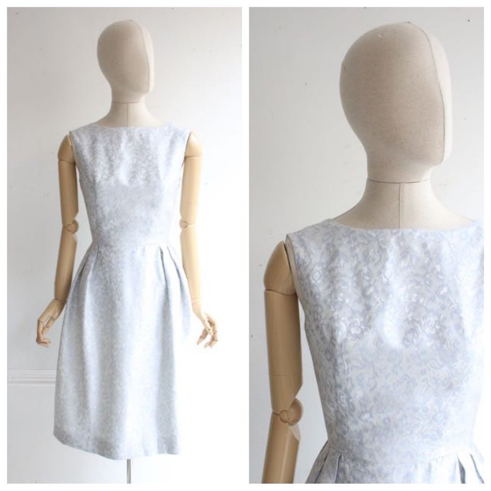 Vintage 1950's dress 1950's silk dress 1950's brocade dress 1950's blue dress 1950's ice blue prom dress vintage original dress 50's UK 6-8
