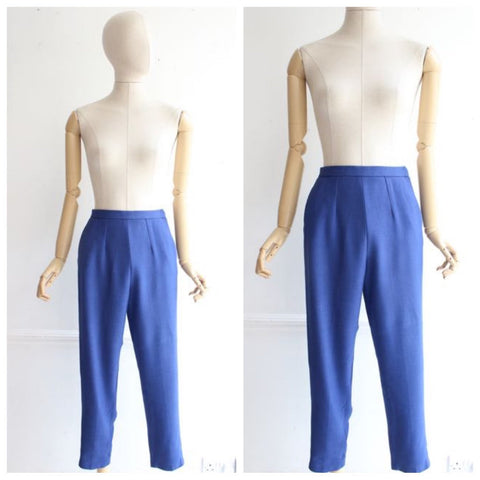 Vintage 1950's trousers 1950's linen trousers pegged trousers 1950's pants blue linen pants original 1950's revival 50's pinup trousers UK 8