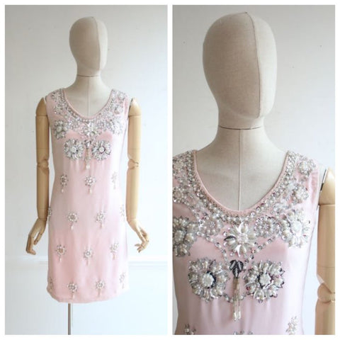 Vintage 1960's dress 1960's velvet dress 1960's pink velvet dress 60's pink dress 1960's beaded dress sixties sequin cocktail dress UK 10-12