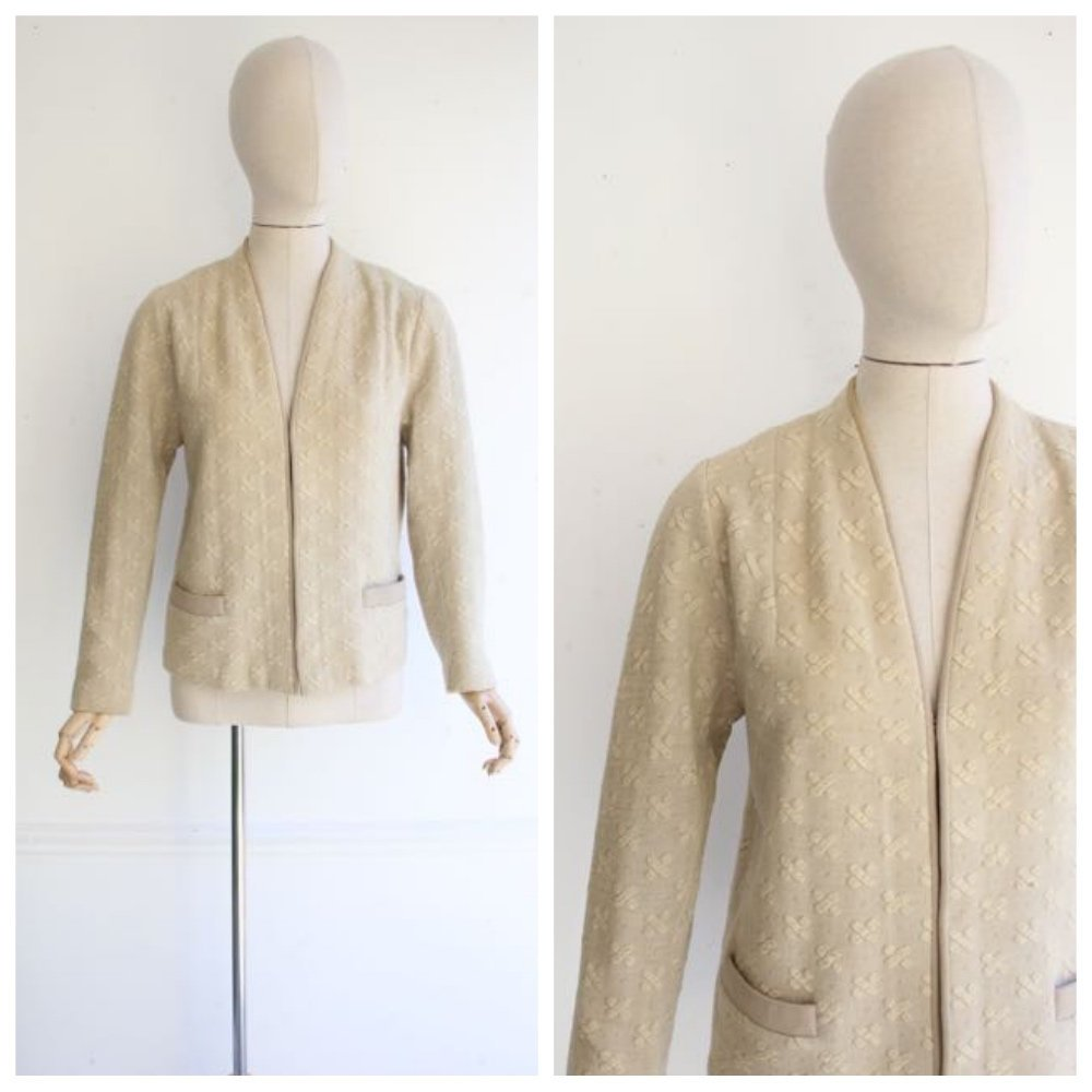 Vintage 1950's Cardigan 1950's yellow cardigan 100% wool sweater vintage 50's knitwear cardigan tricot 1950 lovely knit V neckline UK 12-14